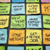 popular new year goals or resolutions - colorful sticky notes on a blackboard